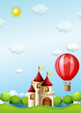 Illustration of the two boys riding in a hot air balloon near the palace Vector