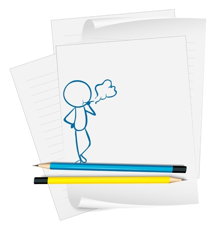puffing: Illustration of a paper with a sketch of a man smoking on a white background Illustration