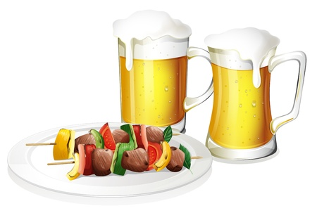 seafoods: Illustration of the two glasses of beer with a plate of barbeque on a white background