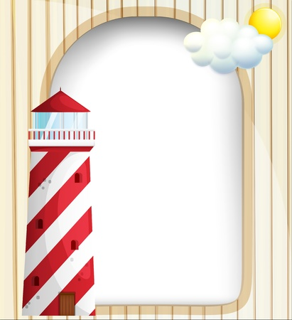 Illustration of a lighthouse in front of an empty template Vector
