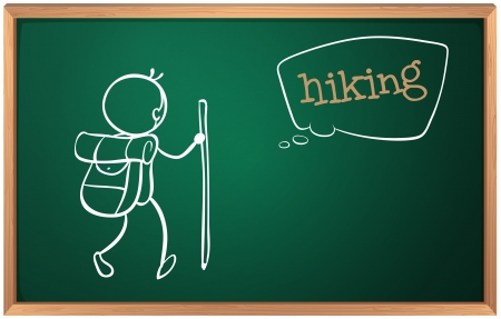 Illustration of a board with a sketch of a person hiking on a white background Vector