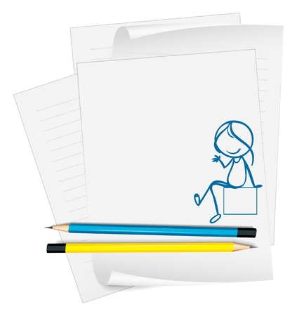 Illustration of a paper with a sketch of a girl sitting down on a white background Stock Vector - 18824902