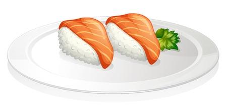 reis gekocht: Illustration einer Platte mit zwei S�tzen von Sushi auf einem wei�en Hintergrund Illustration