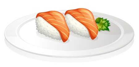 seafoods: Illustration of a plate with two sets of sushi on a white background