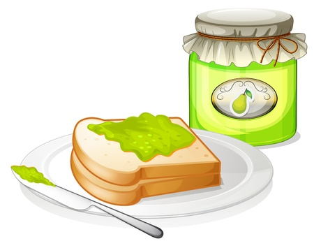 jam sandwich: Illustration of a bread with avocado jam on a white background