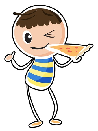 Illustration of a sketch of a boy eating a pizza on a white background Vector