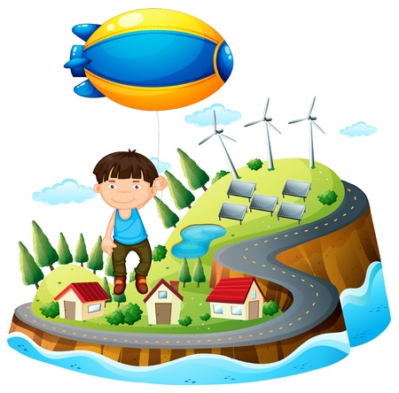 floating island: Illustration of a boy floating with the aircraft on a white background Illustration