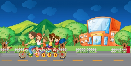 Illustration of a family bike in front of the school Stock Vector - 18825490