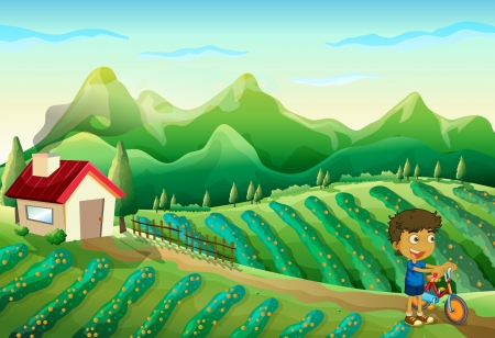Illustration of a boy with a bike at the farm  Vector