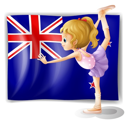 newzealand: Illustration of the flag of New Zealand with the gymnast on a white background