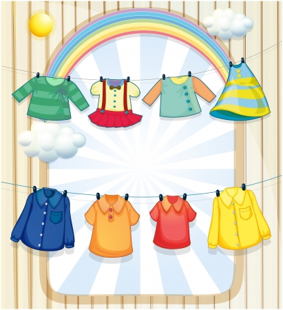 cartoon clothes: Illustration of the washed clothes hanging under the heat of the sun