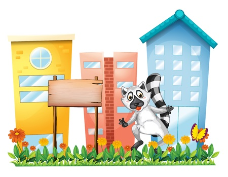 Illustration of a lemur beside an empty signage at the garden on a white background Vector