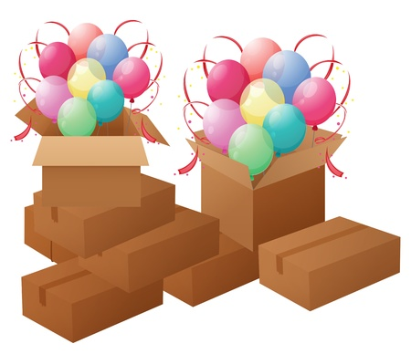 Illustration of the boxes with balloons on a white background Stock Vector - 18825247