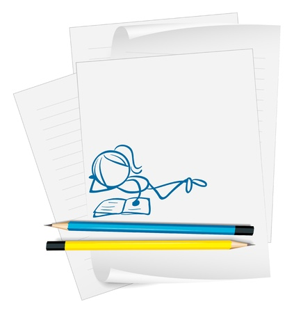 reading material: Illustration of a paper with a woman reading on a white background