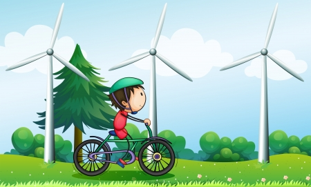 Illustration of a boy riding with his bike near the windmills Stock Vector - 18825105