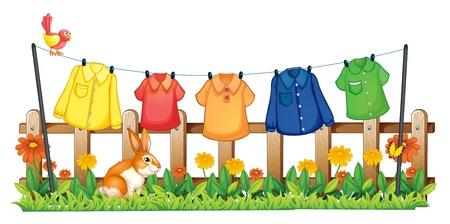 ropa colgada: Ilustración de un jardín con ropa tendida y un conejo sobre un fondo blanco