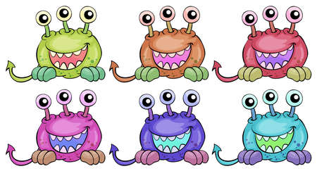 Illustration of the six three-eyed aliens on a white background Vector