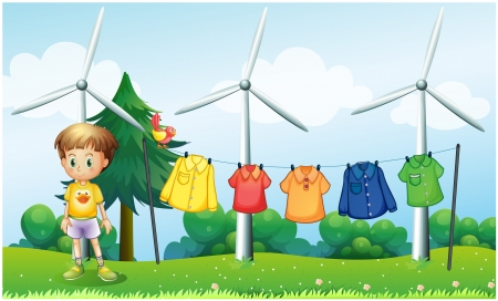 Illustration of the hanging clothes at the hill near the windmills Vector