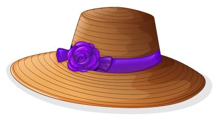 Illustratie van een bruine hoed met een violet lint op een witte achtergrond Vector Illustratie