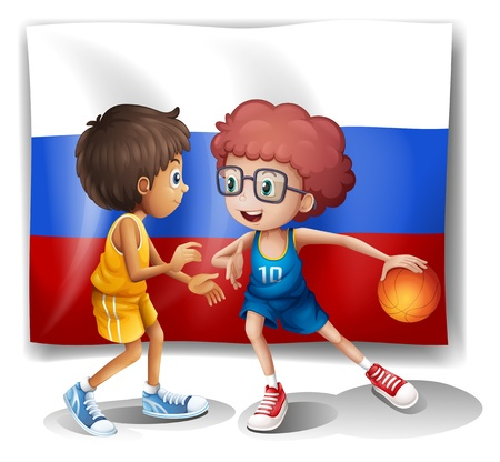 federation: Illustration of the flag of the Russian Federation with two basketball players on a white background Illustration
