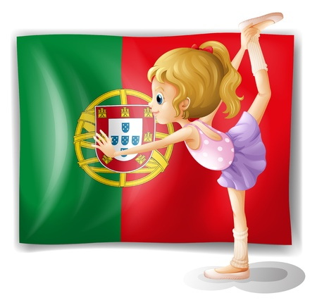 Illustration of a young girl in front of the Portugal flag on a white background Stock Vector - 18825179