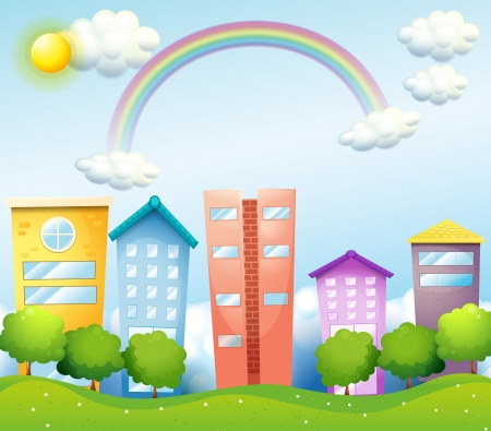 establishments: Illustration of a rainbow above the tall buildings