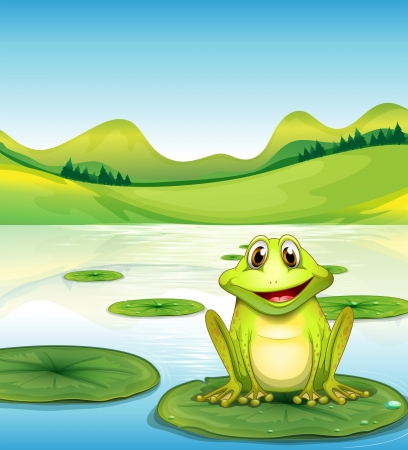 Illustration of a frog above the waterlily in the pond Vector