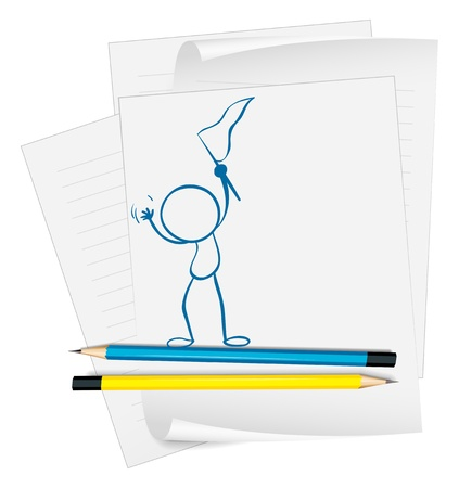 raise the white flag: Illustration of a paper with a sketch of a person holding a flag on a white background Illustration