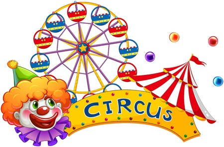 amusement park rides: Illustration of a clown at the circus show on a white background