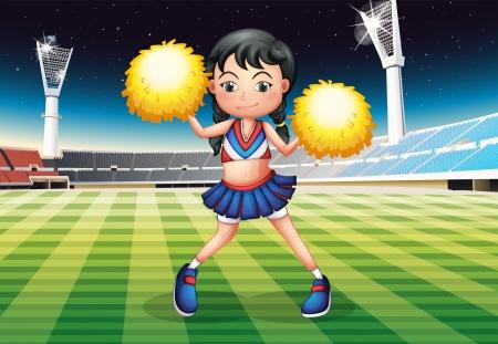 cheer leader: Ilustraci�n de un baile de animadora en el estadio con sus pompones amarillos