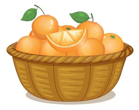 canastas con frutas: Ilustración de una cesta llena de naranjas sobre un fondo blanco