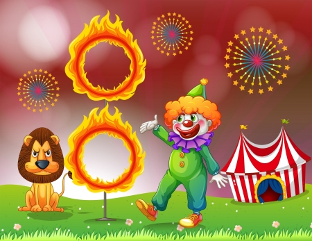 ring of fire: Illustration of a carnival with a clown and a lion near the ring of fire