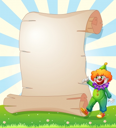Illustration of an empty paper at the hill with a clown Vector