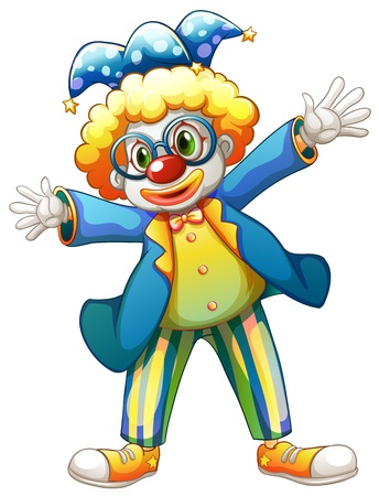 funn: Illustration of a clown with a colorful costume on a white background Illustration