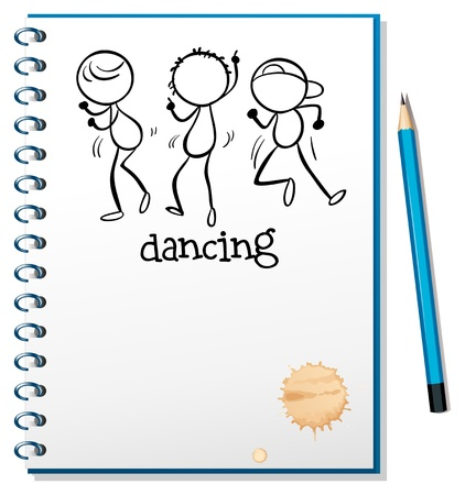Illustration of a notebook with a sketch of three people dancing on a white background Vector