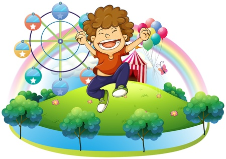 Illustration of a happy boy in the hill with a carnival on a white background Stock Vector - 18834108