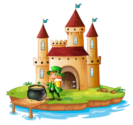 Illustration of a man holding a mug of beer with a pot of gold in front of a castle on a white background