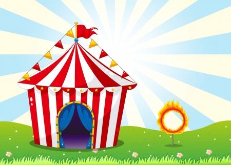 fire ring: Ilustraci�n de una carpa de circo y el anillo de fuego