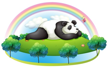 Illustration of an island with a big panda sleeping on a white background Vector