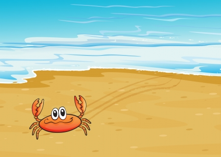 picure: Illustration of a crab crawling at the seashore