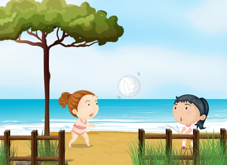 Illustration of the two little girls playing volleyball at the beach Vector