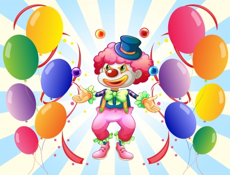 clown shoes: Illustration of a clown with a colorful costume surrounded by balloons
