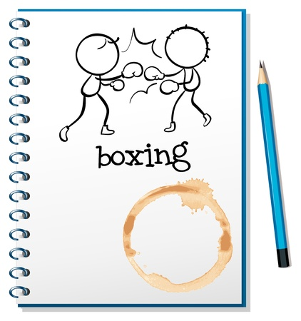 Illustration of a notebook with two boxers at the cover page on a white background Stock Vector - 18834028