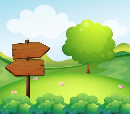 hillside: Illustration of a wooden arrow board in the hill