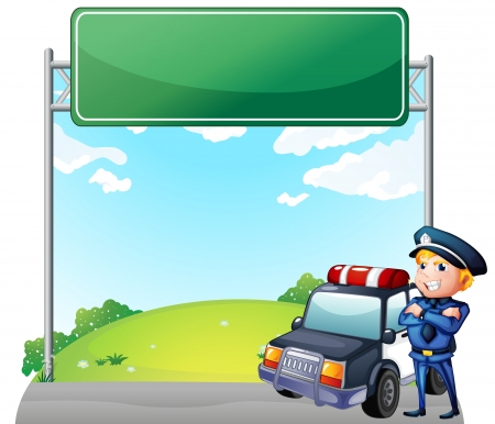 public servants: Illustration of a policeman with his patrol car near the signage