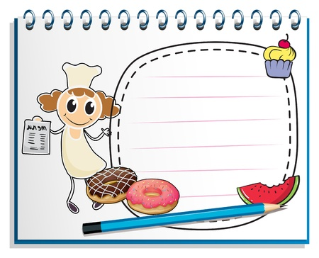 Illustration of a notebook with a sketch of a chef on a white background Vector