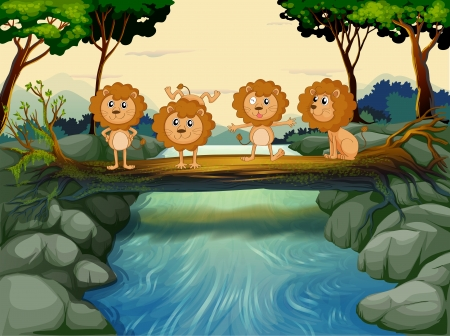 Illustration of the four young lions at the river Vector