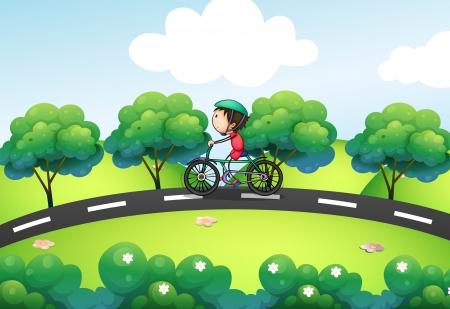 riding helmet: Ilustraci�n de un ni�o montando en su bicicleta en la calle Vectores