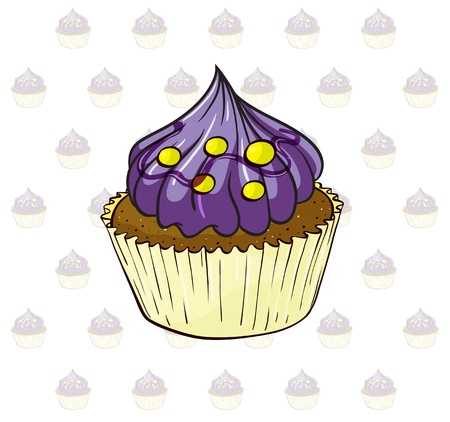 Illustration of a cup cake with violet icing Vector