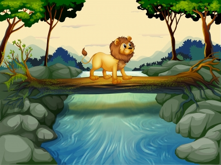 picutre: Illustration of a lion crossing the river